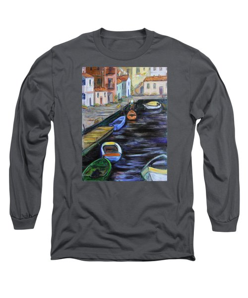 Long Sleeve T-Shirt featuring the painting Boats In Front Of The Buildings IIi by Xueling Zou