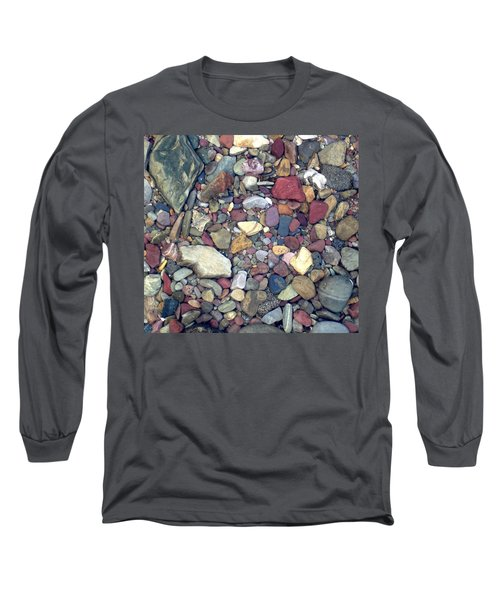 Long Sleeve T-Shirt featuring the photograph Colorful Lake Rocks by Kerri Mortenson