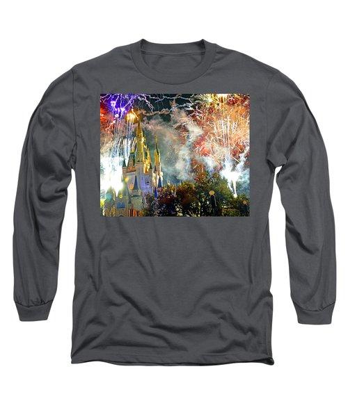Fireworks Cinderellas Castle Walt Disney World Long Sleeve T-Shirt