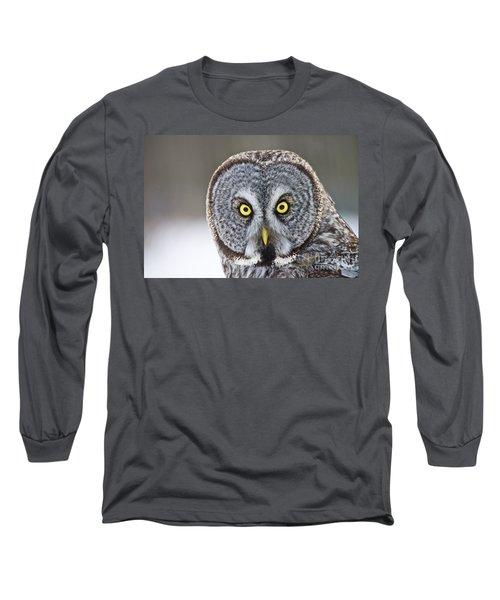 Great Gray Owl Portrait Long Sleeve T-Shirt