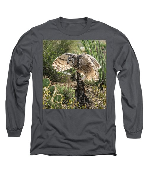 Great Horned Owl Long Sleeve T-Shirt by Tam Ryan