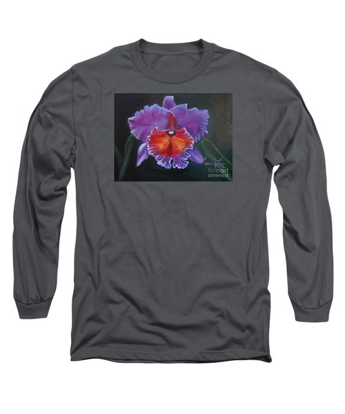 Long Sleeve T-Shirt featuring the painting Lavender Orchid by Jenny Lee