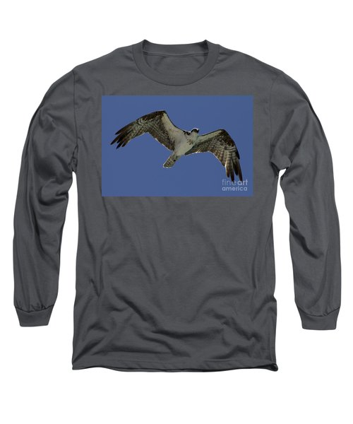 Long Sleeve T-Shirt featuring the photograph Osprey In Flight Photo by Meg Rousher