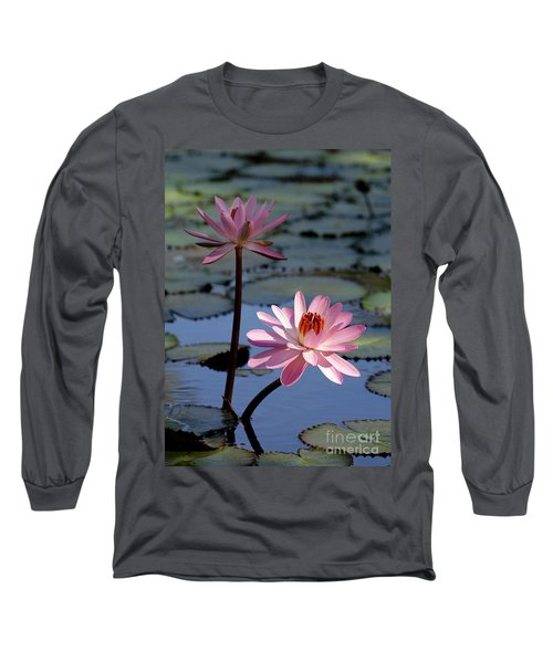 Pink Water Lily In The Spotlight Long Sleeve T-Shirt