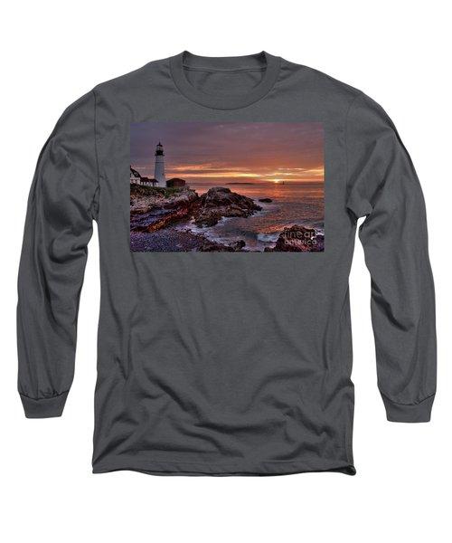 Long Sleeve T-Shirt featuring the photograph Portland Head Lighthouse Sunrise by Alana Ranney