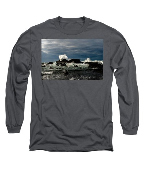 Stormy Seas And Spray Under Dark Skies  Long Sleeve T-Shirt