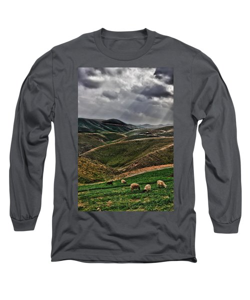 The Lord Is My Shepherd Judean Hills Israel Long Sleeve T-Shirt