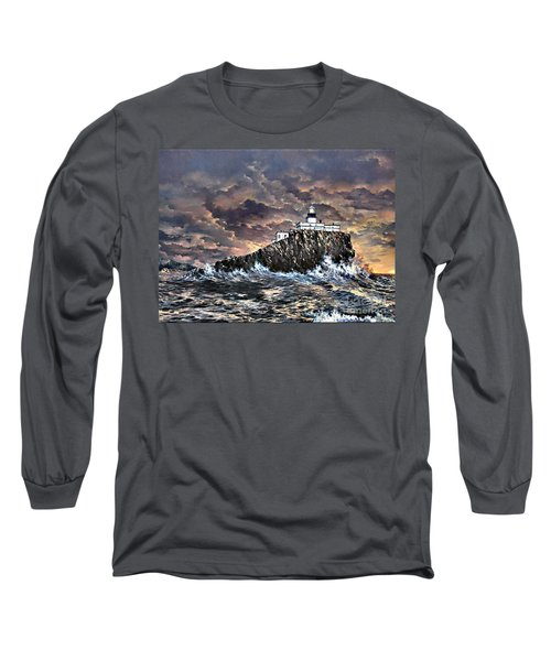 Long Sleeve T-Shirt featuring the painting Tillamook Rock Light by Lynne Wright