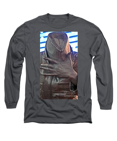 Long Sleeve T-Shirt featuring the photograph Tin Man In Times Square by Lilliana Mendez