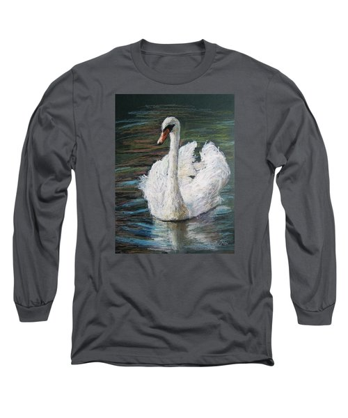Long Sleeve T-Shirt featuring the painting White Swan by Jieming Wang