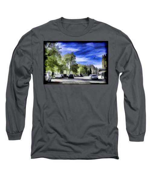 Cars On A Street In Edinburgh Long Sleeve T-Shirt
