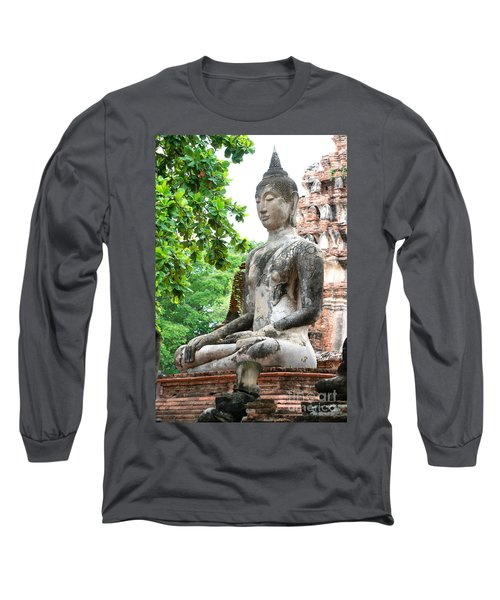 Buddha Statue Long Sleeve T-Shirt by Yew Kwang