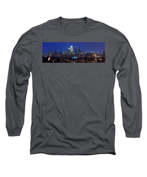 Buildings Lit Up At Night In A City Long Sleeve T-Shirt by Panoramic Images