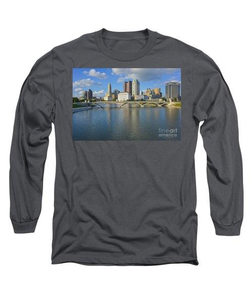Fx1l-802 Columbus Ohio Skyline Photo Long Sleeve T-Shirt