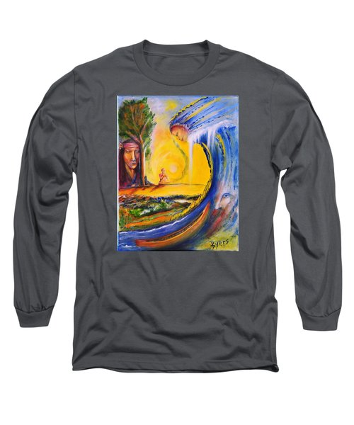 Long Sleeve T-Shirt featuring the painting The Island Of Man by Kicking Bear  Productions