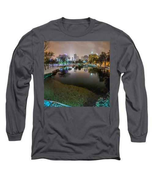 Long Sleeve T-Shirt featuring the photograph Charlotte Nc Skyline Covered In Snow In January 2014 by Alex Grichenko