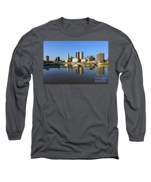 Fx1l-1058 Columbus Ohio Skyline Photo Long Sleeve T-Shirt
