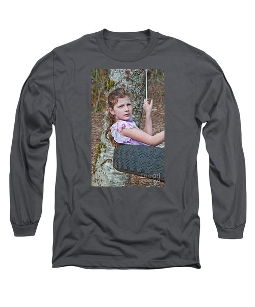 9 Year Old Caucasian Girl In Tire Swing Long Sleeve T-Shirt