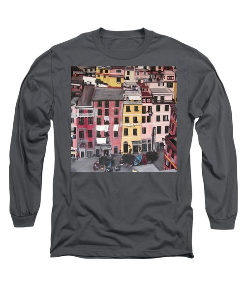 A Bird's Eye View Of Cinque Terre Long Sleeve T-Shirt by Quin Sweetman