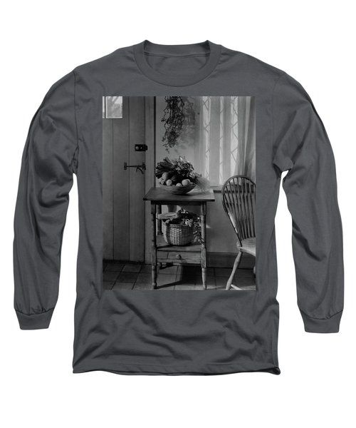 A Bowl Of Vegetables On A Table Long Sleeve T-Shirt