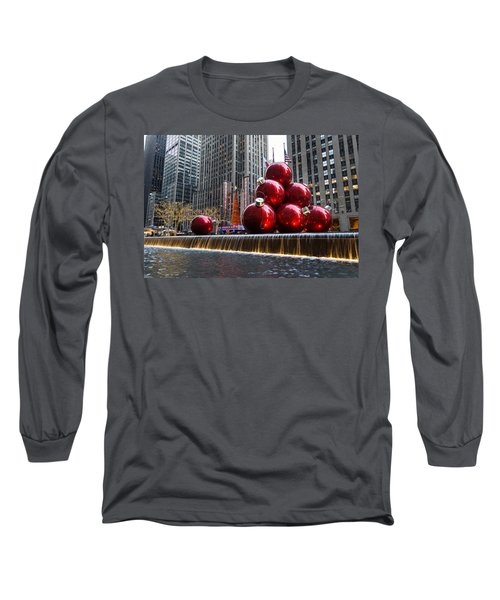 A Christmas Card From New York City - Radio City Music Hall And The Giant Red Balls Long Sleeve T-Shirt