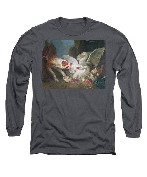 A Dog Attacking Geese, 1769 Oil On Canvas Long Sleeve T-Shirt