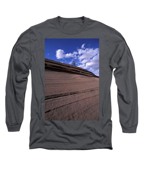 A Female Mountain Biker Mountain Biking Long Sleeve T-Shirt