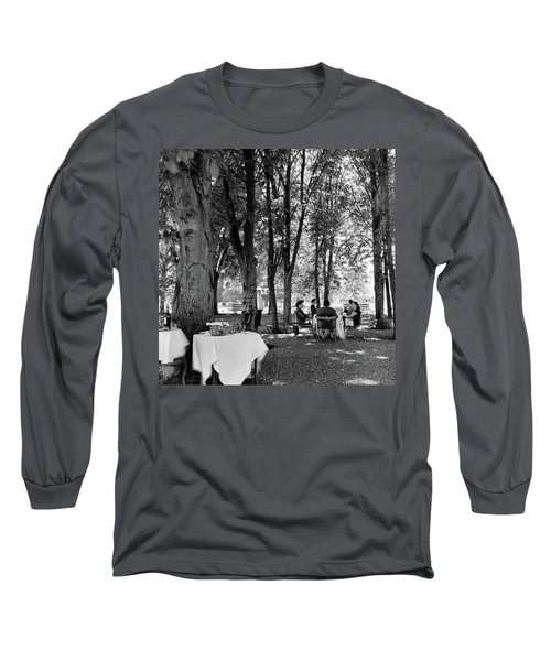 A Group Of People Eating Lunch Under Trees Long Sleeve T-Shirt
