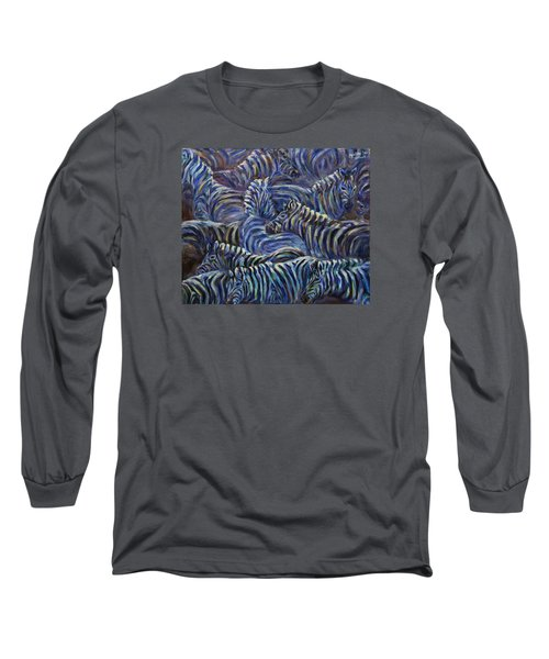 Long Sleeve T-Shirt featuring the painting A Group Of Zebras by Xueling Zou