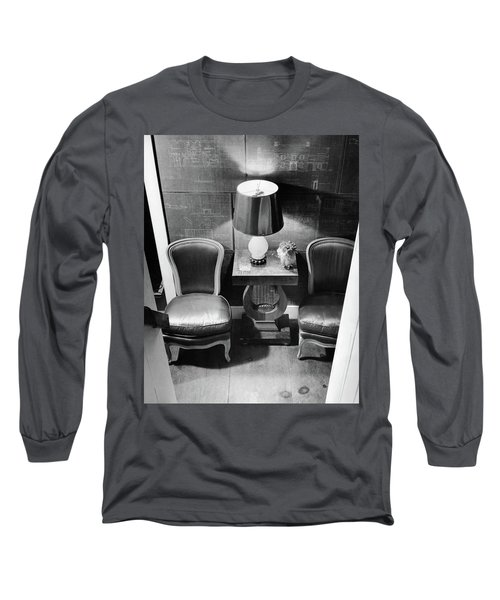 A Hallway With Blueprints Long Sleeve T-Shirt