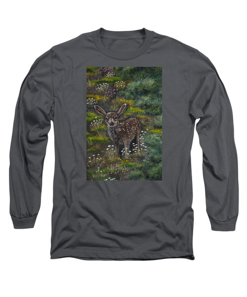 Long Sleeve T-Shirt featuring the painting A Happy Fawn by Jennifer Lake