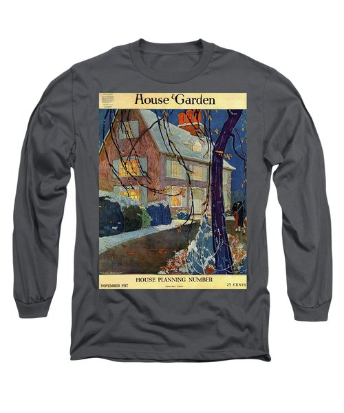 A House And Garden Cover Of A House In Winter Long Sleeve T-Shirt