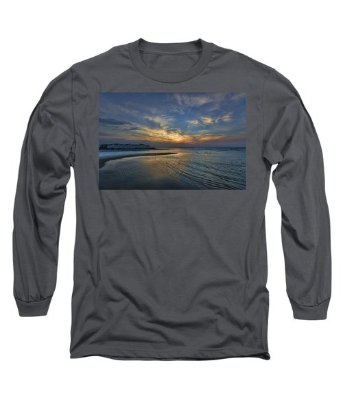 Long Sleeve T-Shirt featuring the photograph a joyful sunset at Tel Aviv port by Ron Shoshani