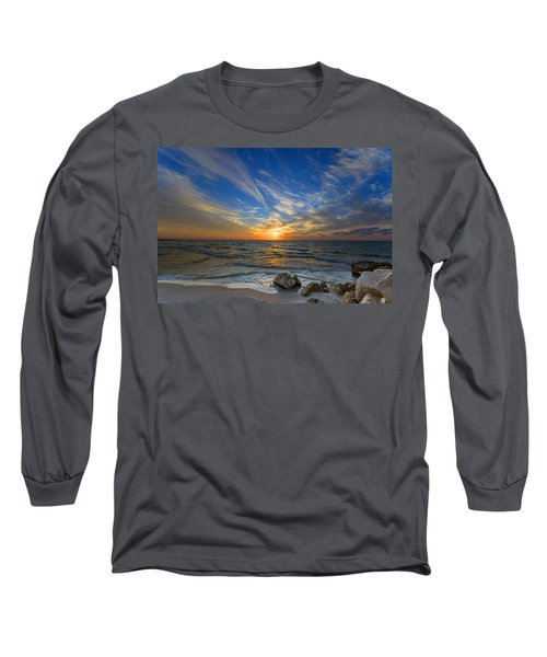 Long Sleeve T-Shirt featuring the photograph A Majestic Sunset At The Port by Ron Shoshani