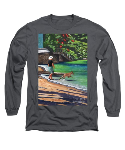A Man And His Dog Long Sleeve T-Shirt by Laura Forde