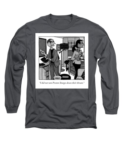 A Man Putting A Dvd In Its Cakse Speaks Long Sleeve T-Shirt