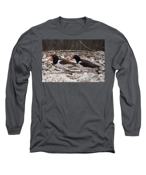 A Mated Pair Of Oyster Catchers Long Sleeve T-Shirt
