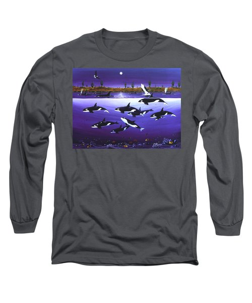 Long Sleeve T-Shirt featuring the painting A Pod Of Desert Orcas by Lance Headlee