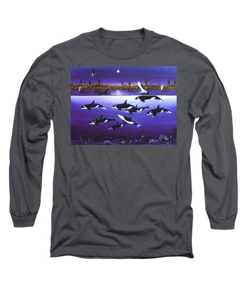 A Pod Of Desert Orcas Long Sleeve T-Shirt by Lance Headlee