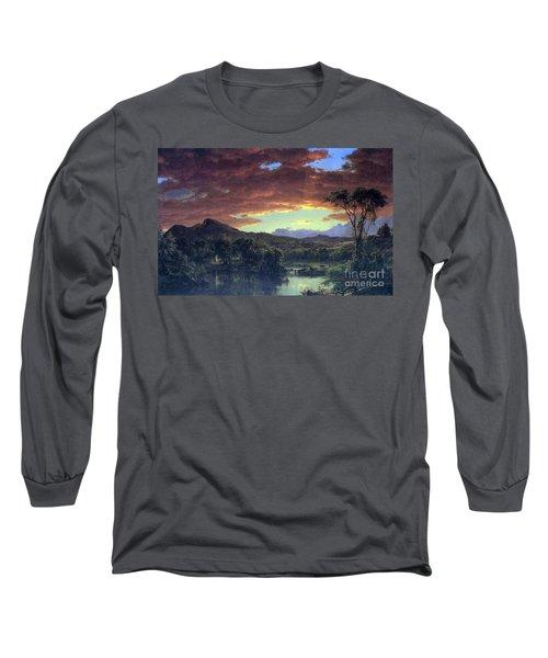 A Rural Home By Frederick Edwin Church Long Sleeve T-Shirt