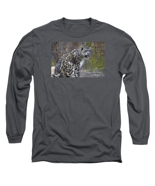 A Snow Leopards Tongue Long Sleeve T-Shirt by David Millenheft