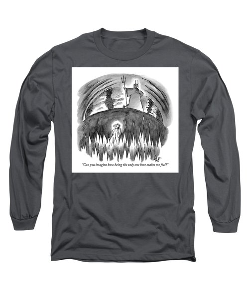 A Sole Man In Talks On His Cell Phone Surrounded Long Sleeve T-Shirt