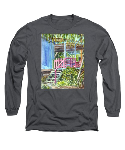 Long Sleeve T-Shirt featuring the painting A Tropical House Porch by Carol Wisniewski