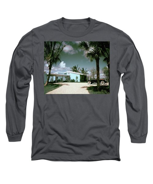 A Vintage Car Parked Outside A Blue House Long Sleeve T-Shirt