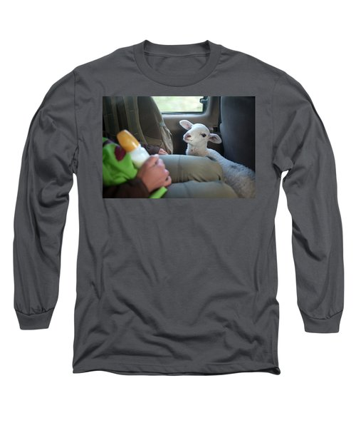 A White Lamb Travels In A Truck Long Sleeve T-Shirt