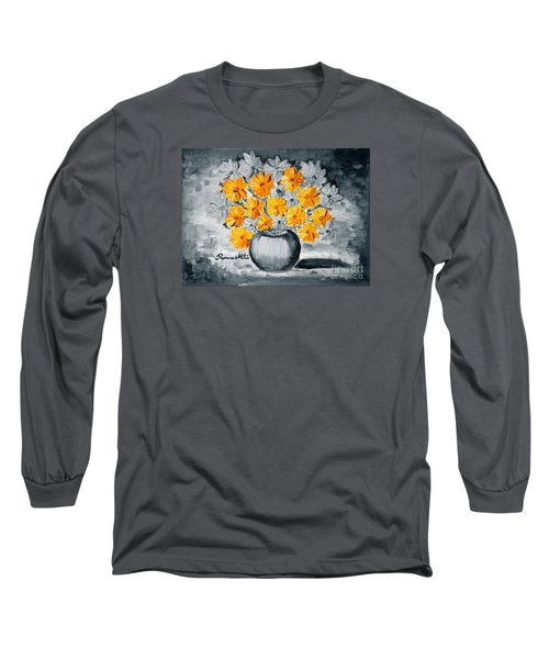 A Whole Bunch Of Daisies Selective Color I Long Sleeve T-Shirt by Ramona Matei