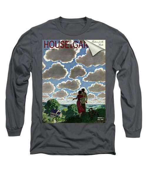 A Young Couple And Their Dogs On A Hilltop Long Sleeve T-Shirt
