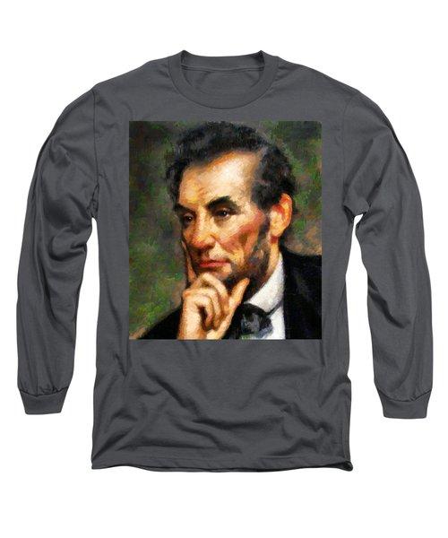 Abraham Lincoln - Abstract Realism Long Sleeve T-Shirt