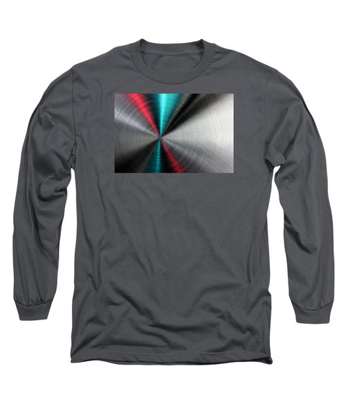 Abstract Metallic Texture With Blue And Red Ray Pattern. Long Sleeve T-Shirt