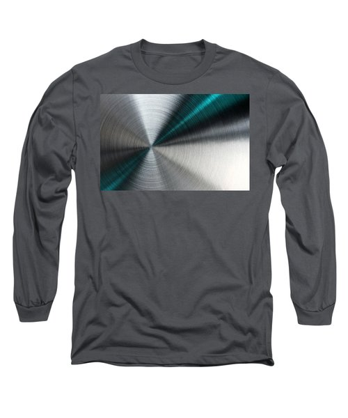 Abstract Metallic Texture With Blue Rays. Long Sleeve T-Shirt